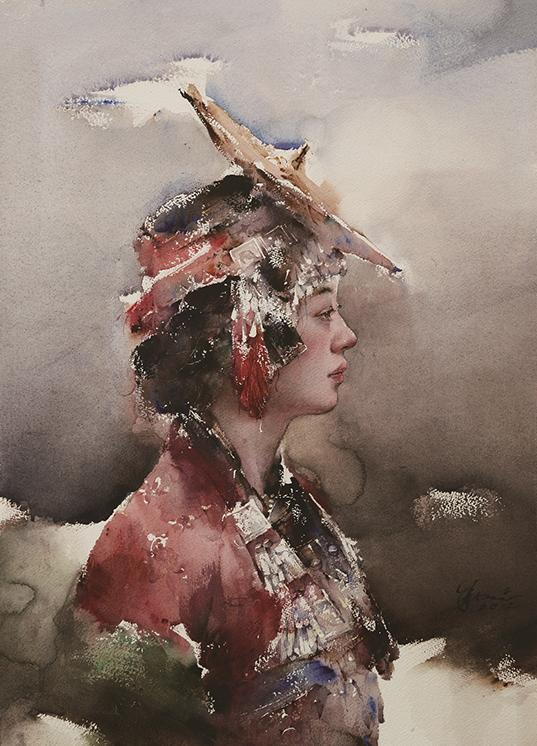 傣族族少女一 水彩 2012年 50X70cm 全国青年水彩名家展