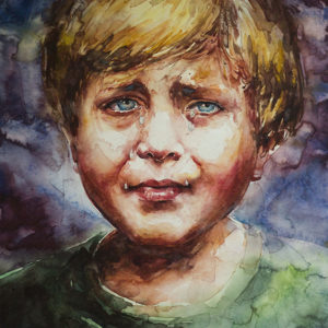 Crying Boy_Atanur Dogan_50x37cm_watercolor on paper